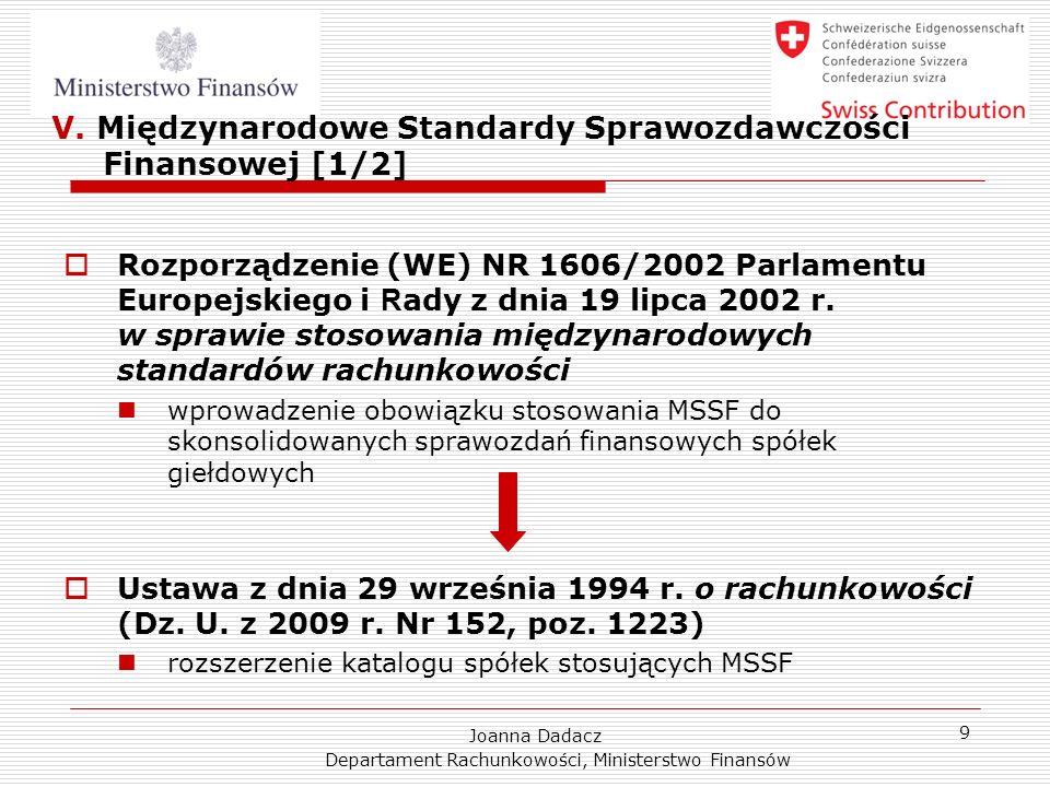 V. Międzynarodowe Standardy Sprawozdawczości Finansowej [1/2]